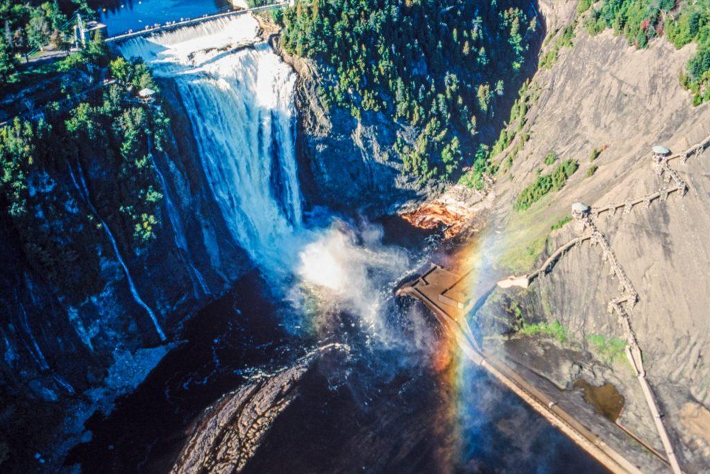 Aerial of Montmorency Falls, near Quebec City, Quebec, Canada