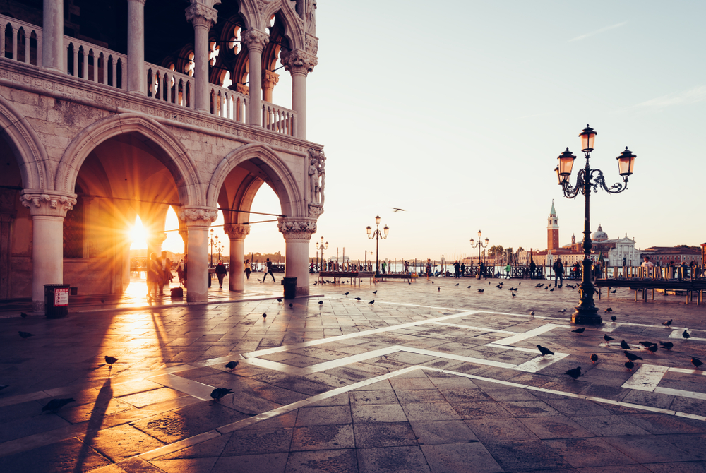 View of piazza San Marco, Doge's Palace (Palazzo Ducale) in Venice, Italy.