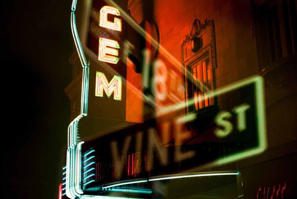 Double exposure of Gem marquee and 18th Vine depicting Jazz District in which this image was award best shot for the Kansas City Magazine in 2000.