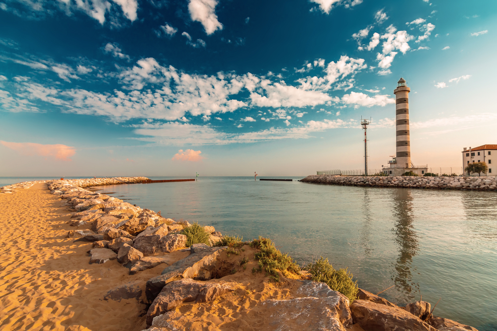 Lighthouse on the beach of Lido di Jesolo near Venice, Veneto region, Italy
