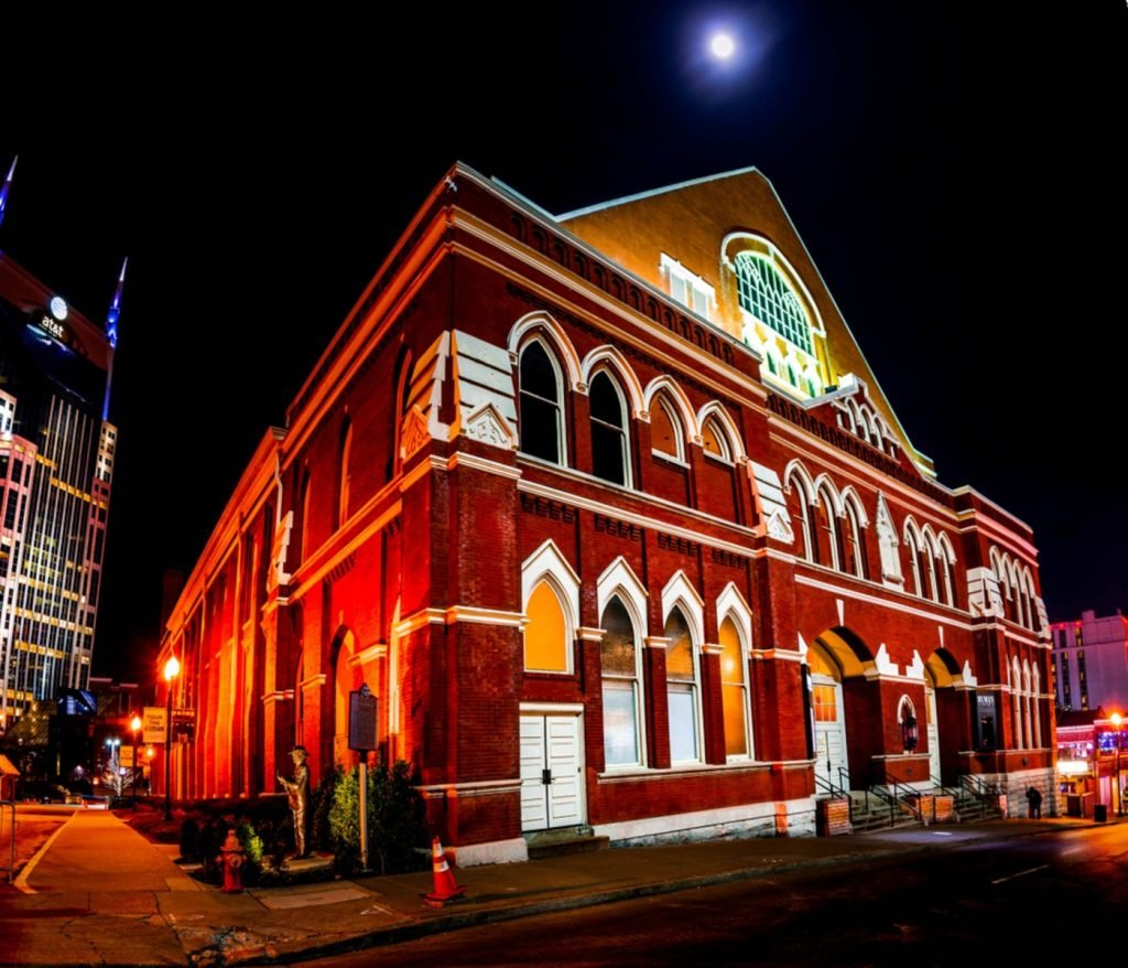time exposure of full moon over the roof of the Ryman auditorium, former home of the Grand Ole Opry