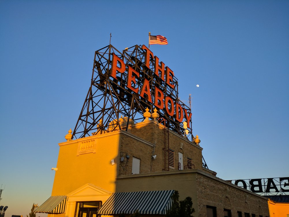 The iconic Peabody Hotel sign