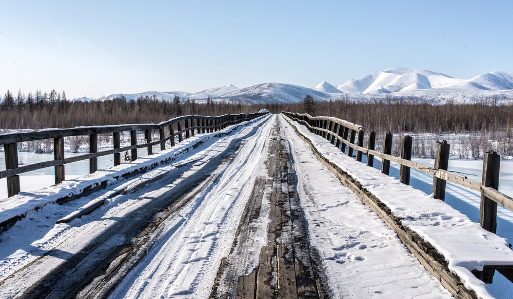 Old wooden bridge in Oymyakon