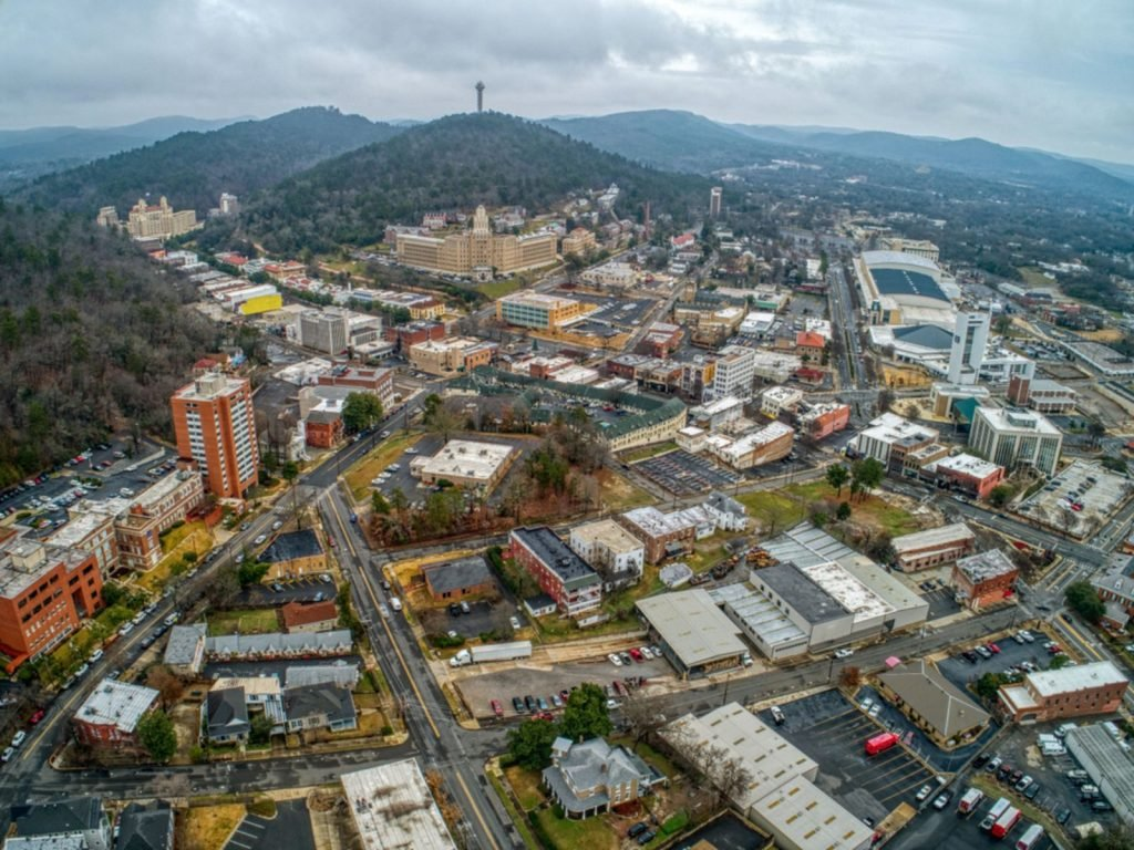 Aerial View of Downtown Hot Springs, Arkansas