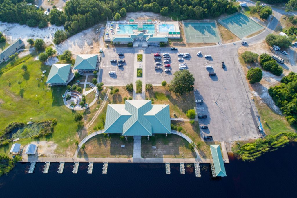 Aerial view of recreation center at Gulf State Park in Gulf Shores, Alabama