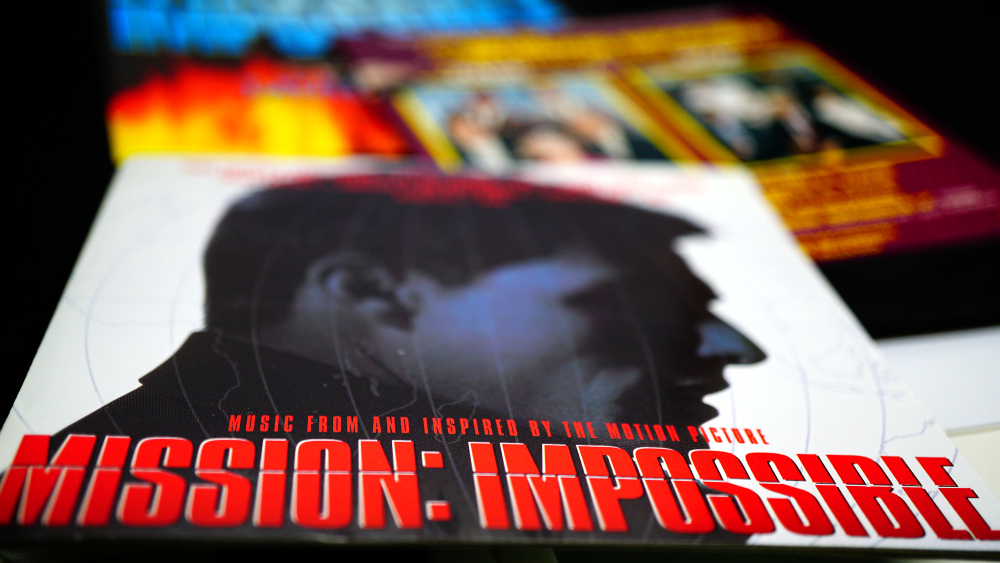 Artwork covers of movie soundtracks and TV series of MISSION IMPOSSIBLE. Originated from the US spy television series of the sixties-seventies