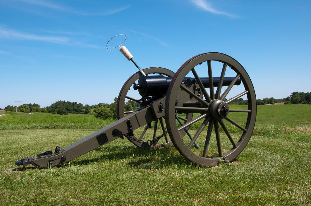 A Civil War era cannon on a ridge at Perryville, Kentucky