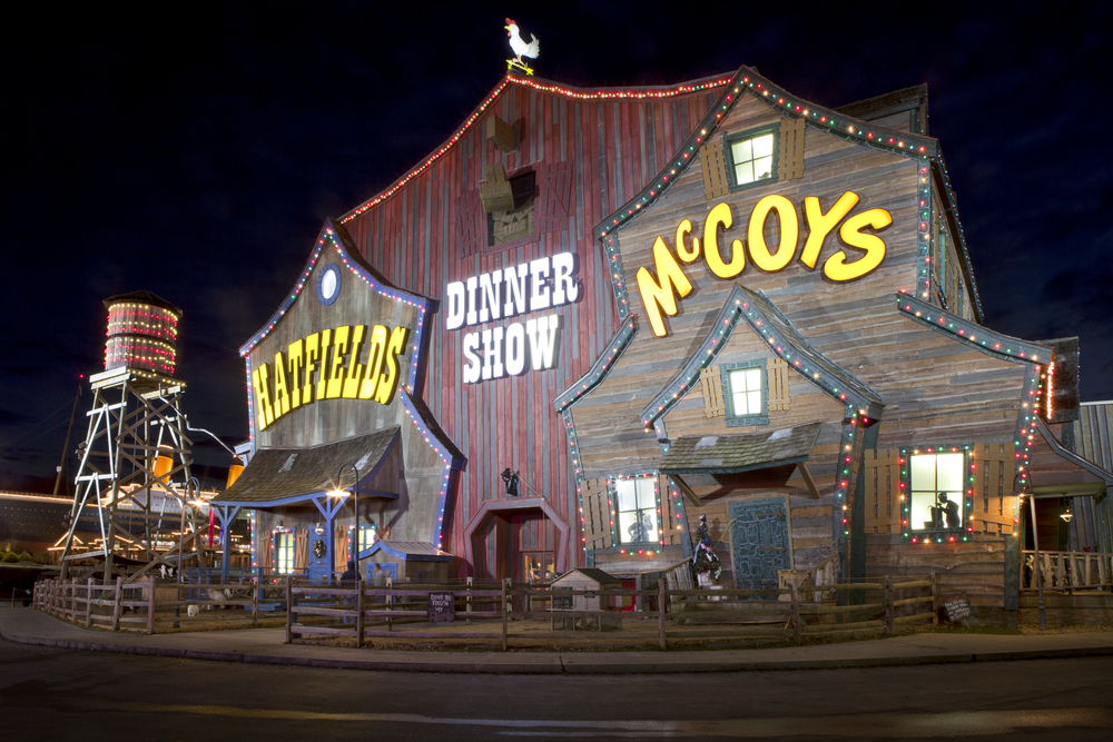 The unique facade of the Hatfield & McCoy Dinner Show Theater