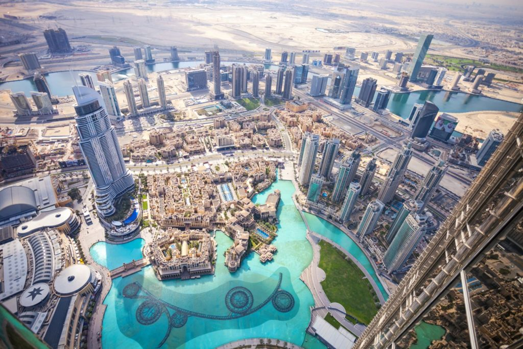 View of downtown Dubai from Burj Khalifa,