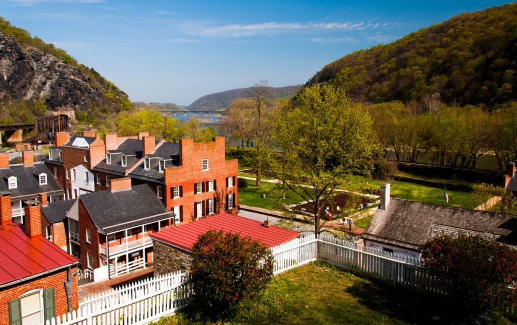 Spring view of Harper's Ferry, West Virginia.