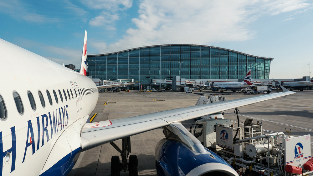 Airplanes operations in Heathrow Airport, the busiest airport in the United Kingdom and the busiest airport in Europe by passenger traffic