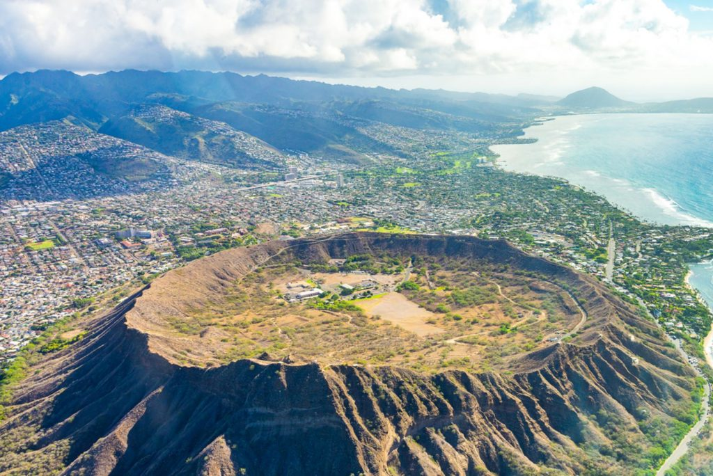 Absolutely amazing aerial view on the Hawaii island with a Diamond head crater and Honolulu city skyline view