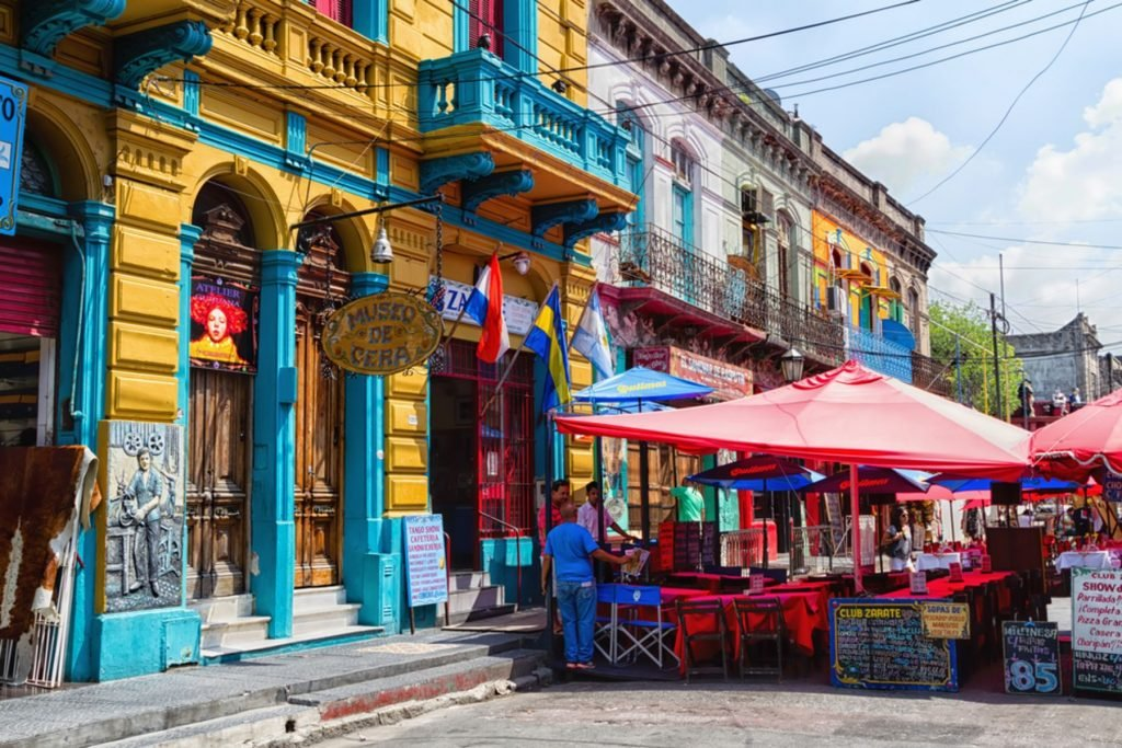Colorful area in La Boca neighborhoods on February 24, 2016 in Buenos Aires. Street is a major tourist attraction & the area is filled with colorfully painted buildings