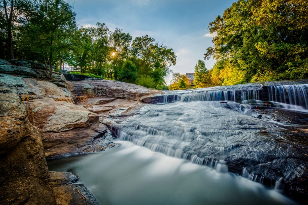 Waterfall at the Falls Park on the Reedy, in Greenville, South Carolina