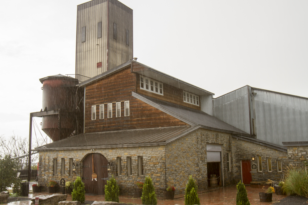 Willett Distillery craft bourbon facility in rain storm