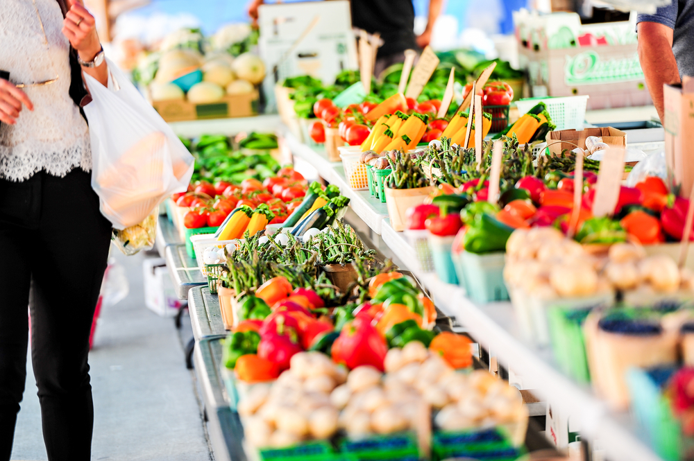 Fresh fruits and vegetables at the farmers market