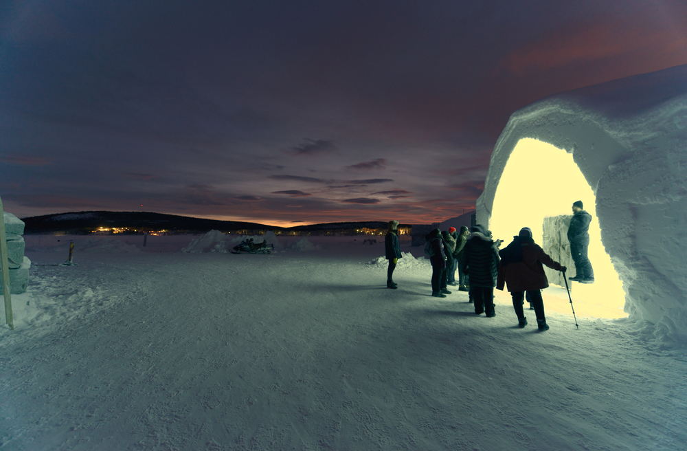 Exterior of Ice Hotel in Jukkasjarvi near Kiruna Sweden