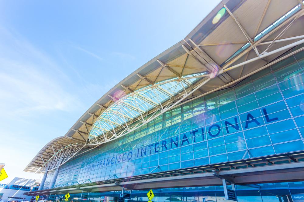 Front facade and entrance to SFO, San Francisco International Airport terminal passenger unloading zone