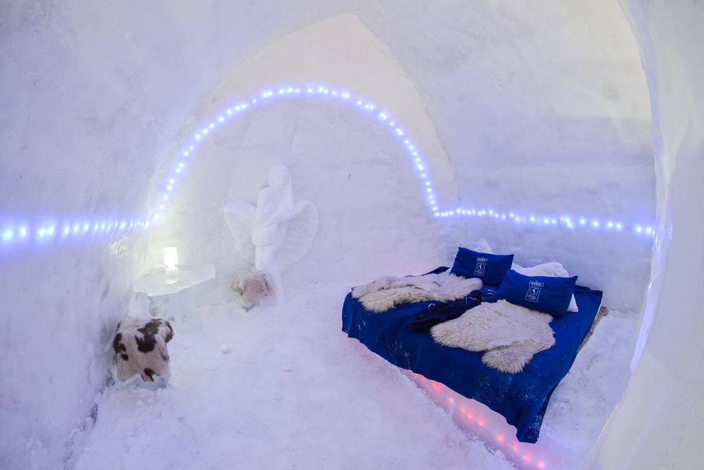Ice hotel in the frozen Balea Lake in the Fagaras mountains, Romania