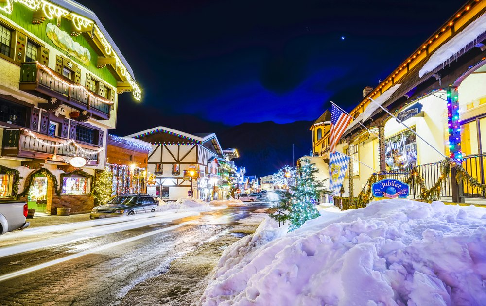 beautiful leavenworth with lighting decoration in winter