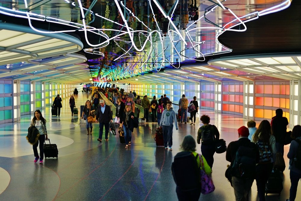 The colored electric neon tunnel The Sky Is the Limit at Chicago O'Hare International Airport