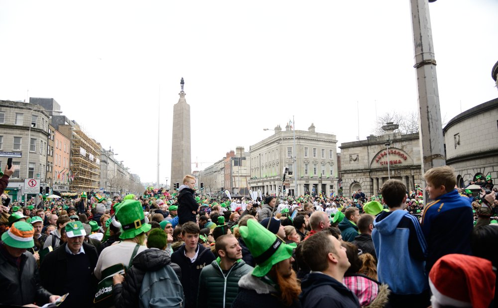 Many people on the O'connell street on St. Patrick`s Day Parade in Dublin, Ireland