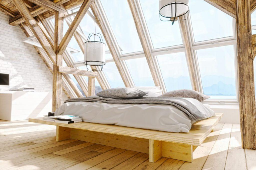 Bed in sunlight