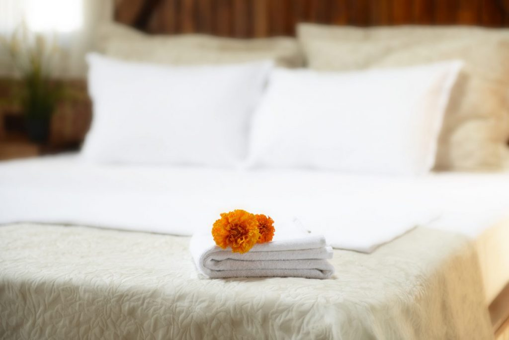 Bed with flowers on it