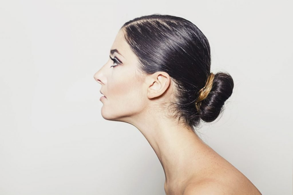 shoulder length hair low bun