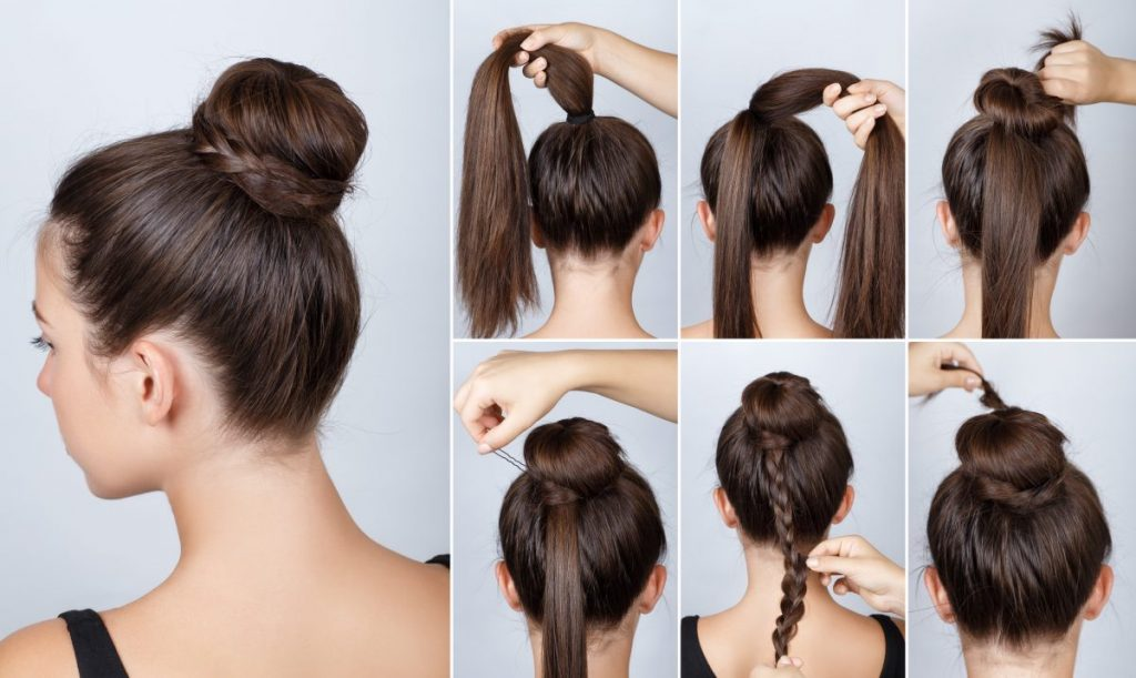long hair braided bun