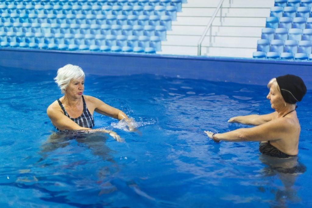 senior ladies water exercising
