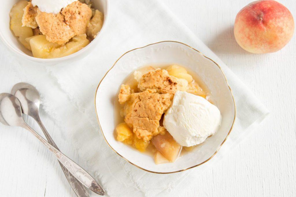 serve eat enjoy peach cobbler