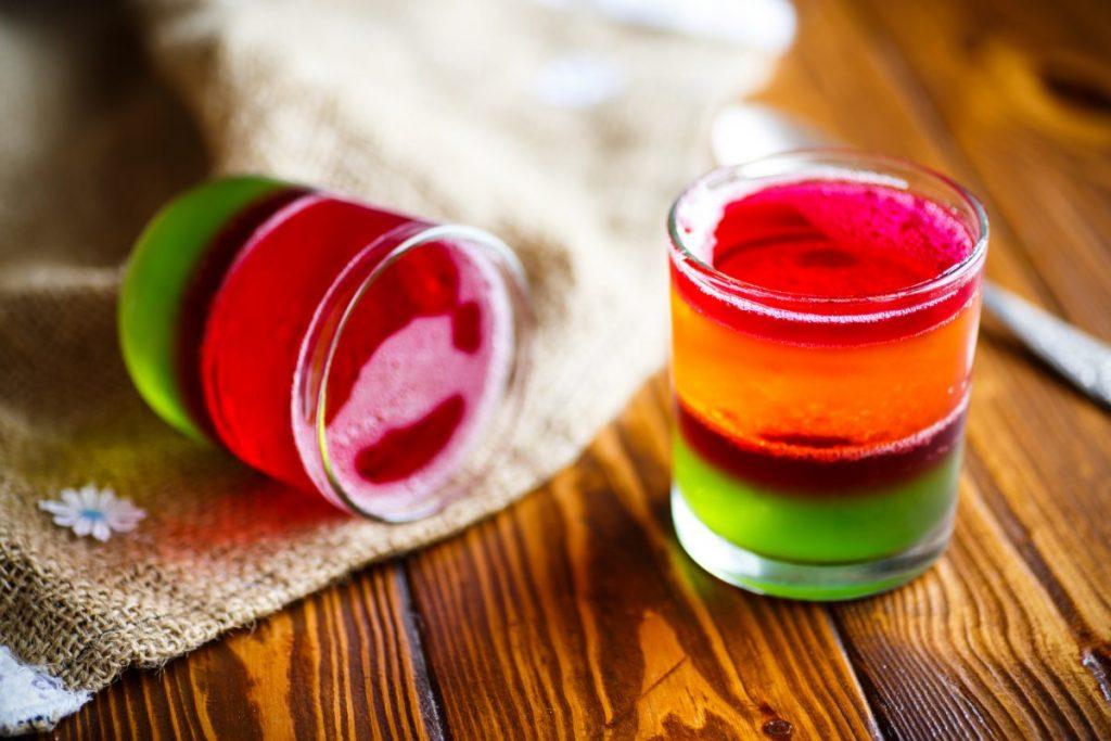 rainbow striped Jell-O shots