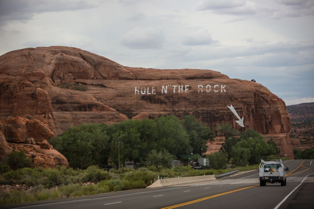 Hole in the rock attraction near Arches National Park