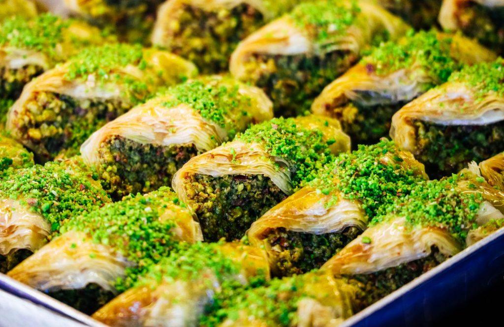 A tray with turkish dessert baklava, Istanbul grand bazzar.