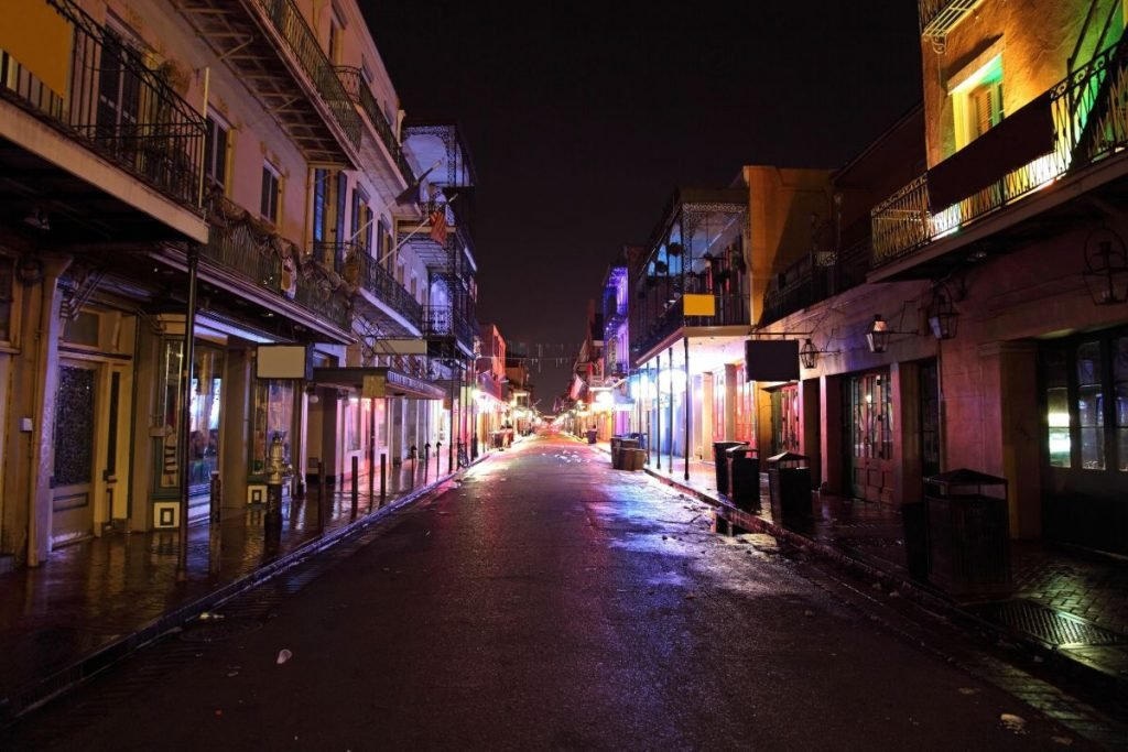Bourbon Street in the French Quarter in New Orleans, Louisiana at night