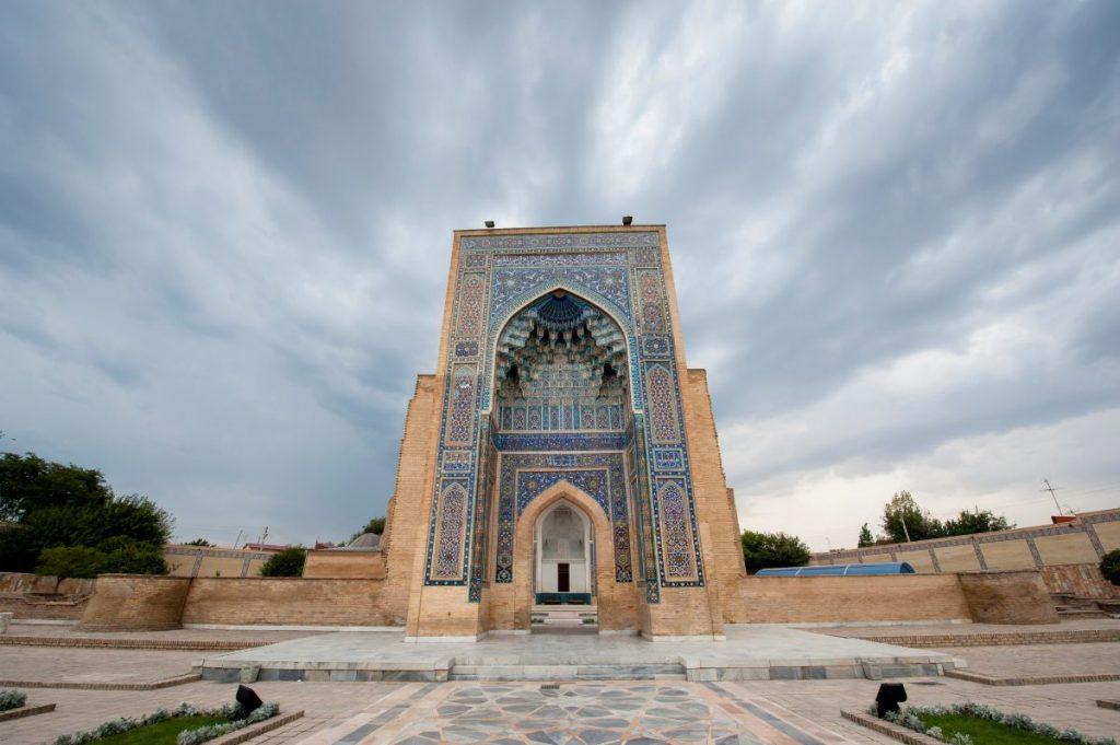 """Guri Amir Mausoleum under dramatic sky, Samarkand, Uzbekistan"""