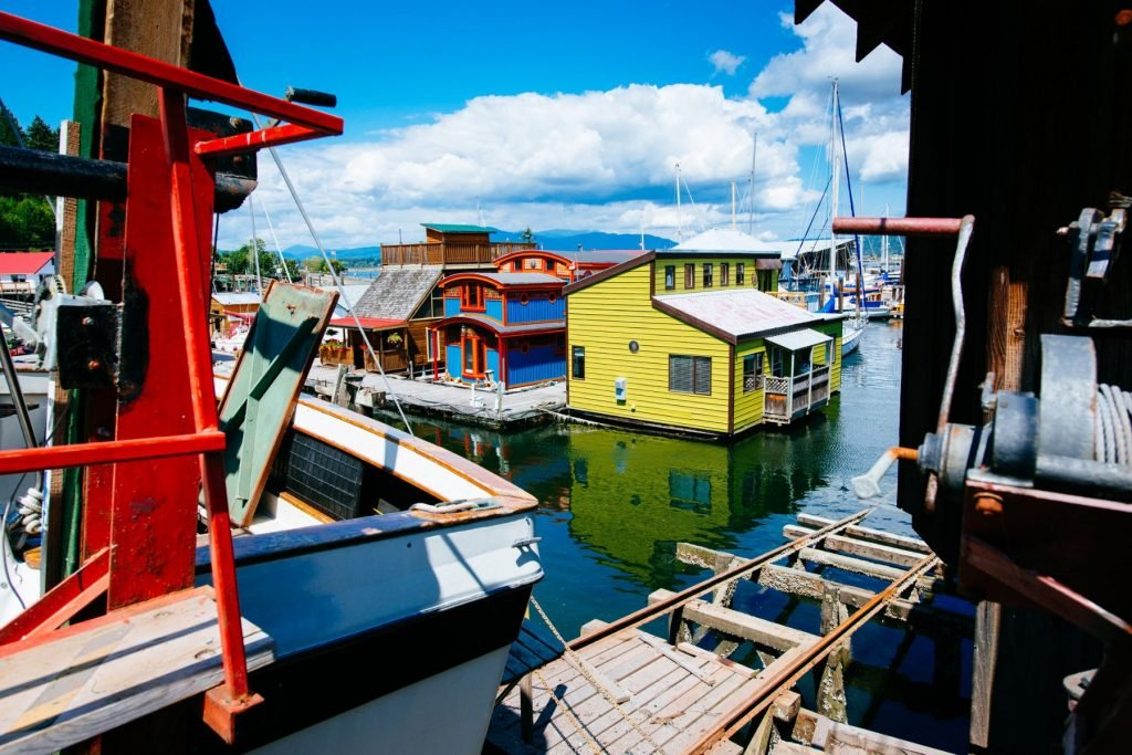 Floating Houses in Cowichan Bay Vancouver Island. Canada.