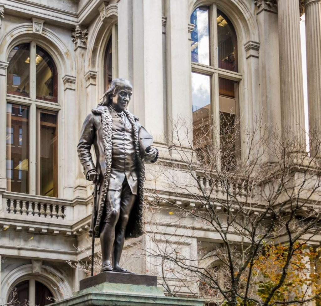 Benjamin Franklin Statue at Old City Hall - Boston, Massachusetts, USA