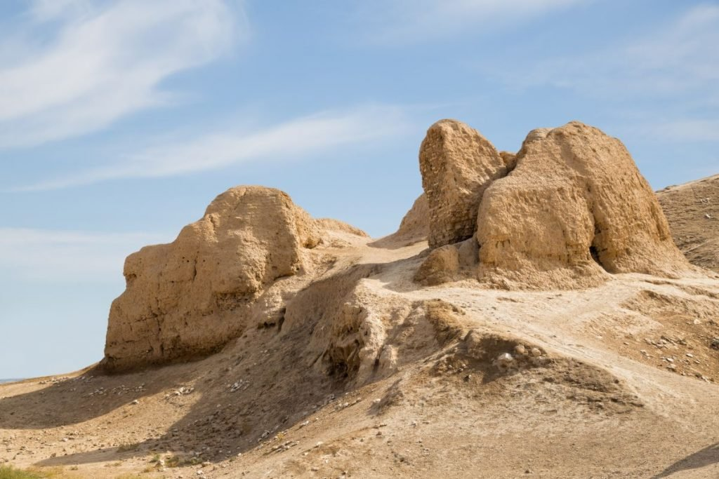 Ruins of the Fortress Nur, it was founded by Alexander the Great. Nurata, Uzbekistan