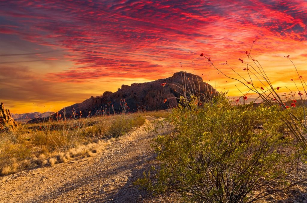 Dramatic sunset just outside of Terlingua, TX