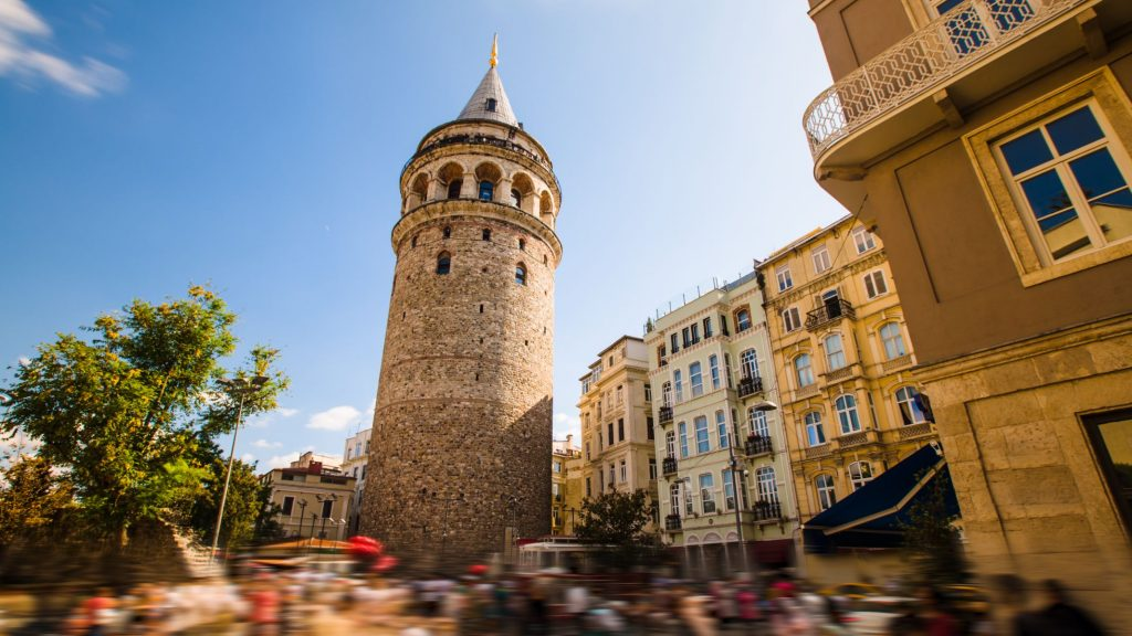 famous ancient tourist place Galata tower in Istanbul in Turkey