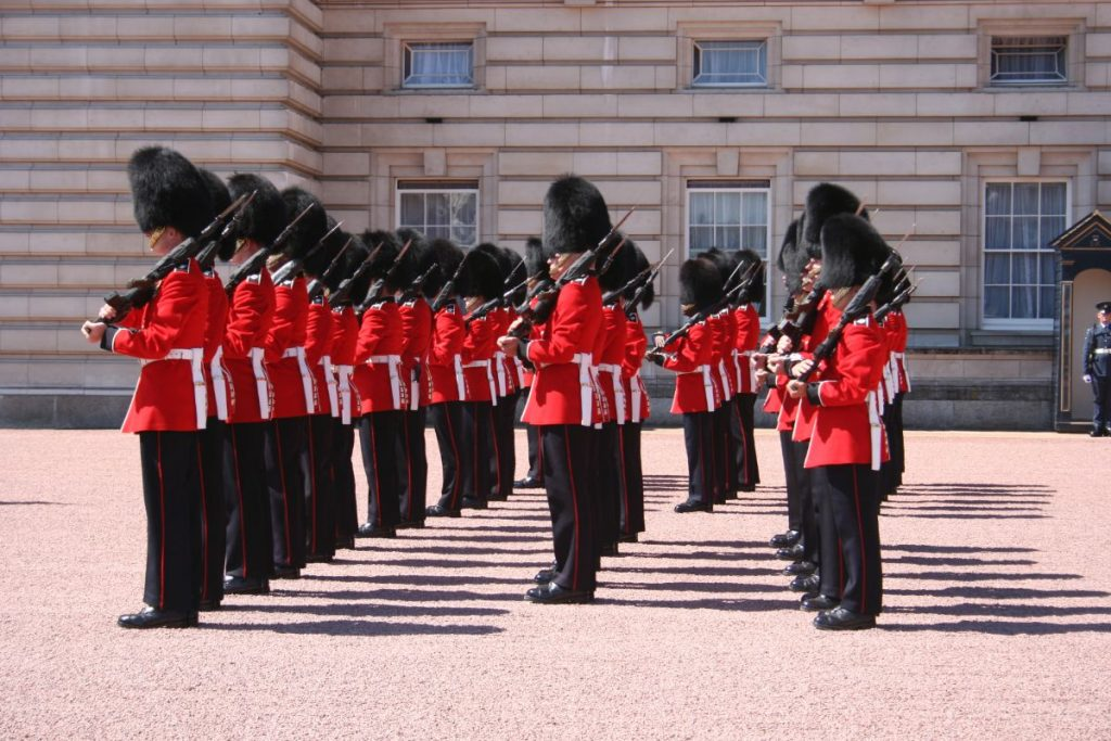 Changing of the guards, with rifle