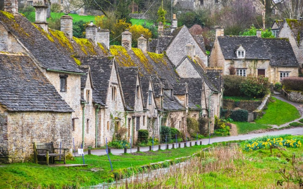 Traditional cotswold stone cottages, Arlington Row, Bibury, Gloucestershire, England