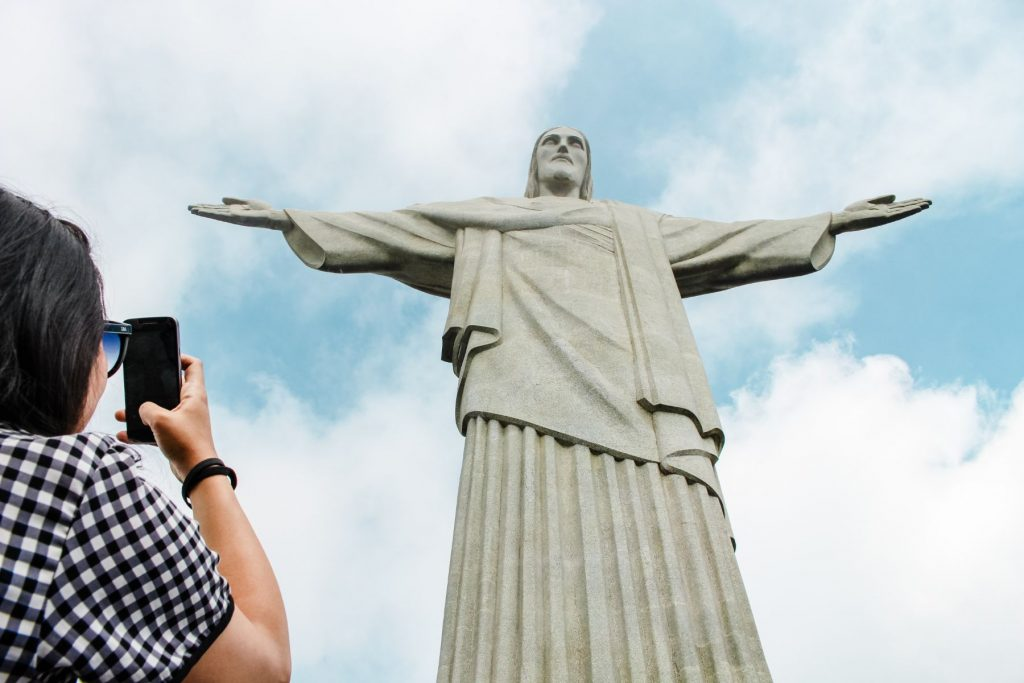 Taking a picture of Christ the Redeemer