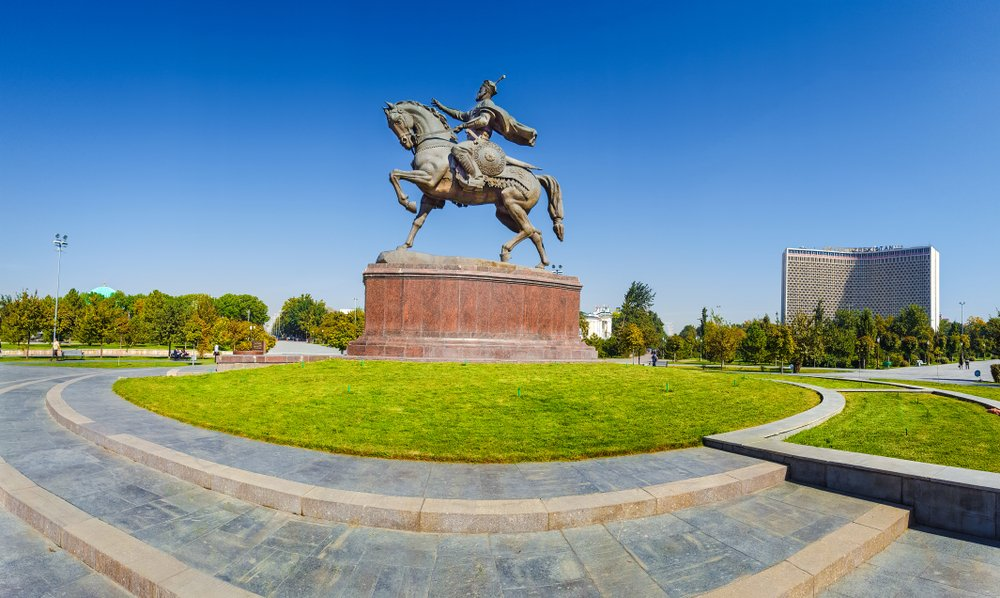 Amir Temur Square is the center of Tashkent with the monument of Amir Temur in the middle. The square is surrounded by the Uzbekistan Hotel