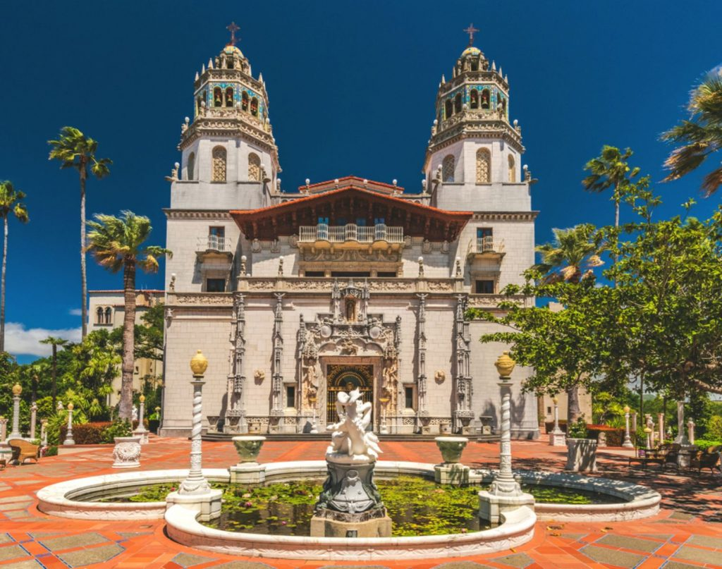 Exterior view of Hearst Castle, William Randolph Hearst's extravagant coastal hilltop estate designed by architect Julia Morgan over 28 years