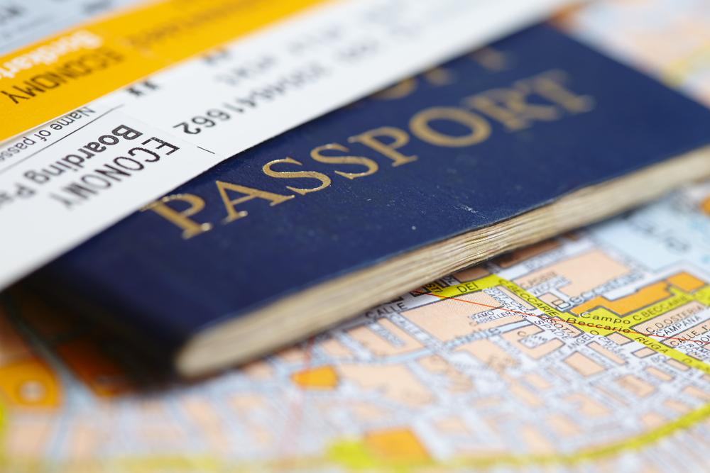 Passport on map
