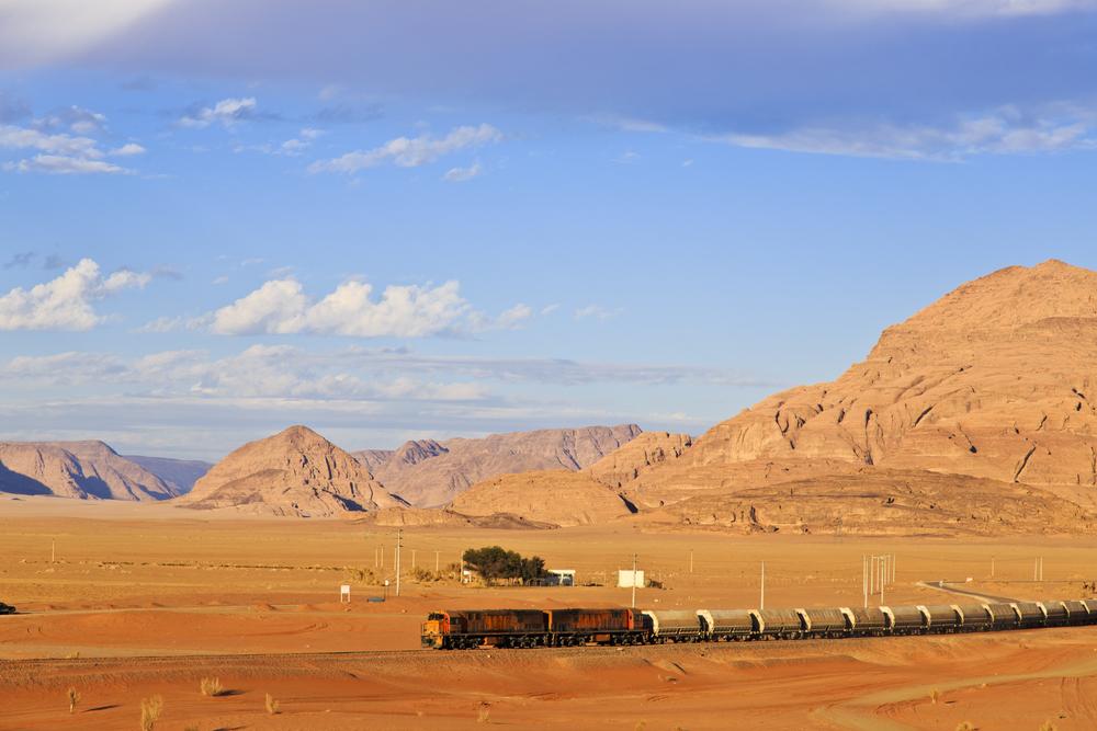 Ottoman train in Arabian desert