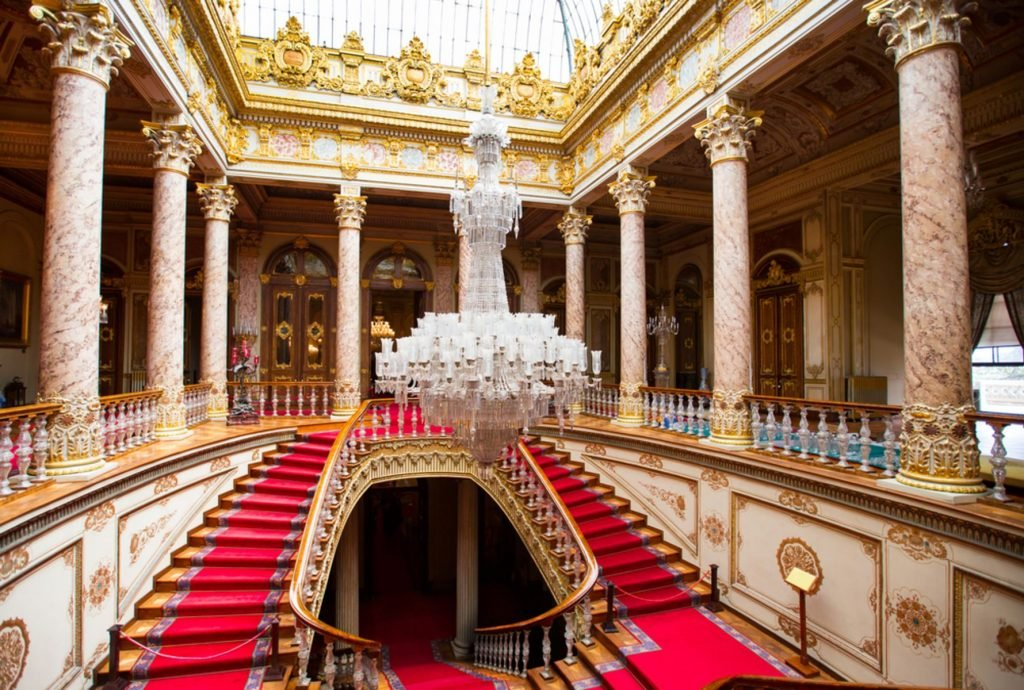 Dolmabahce Palace interior on May 06 2014 in Istanbul Turkey. Baccarat chandelier and staircase